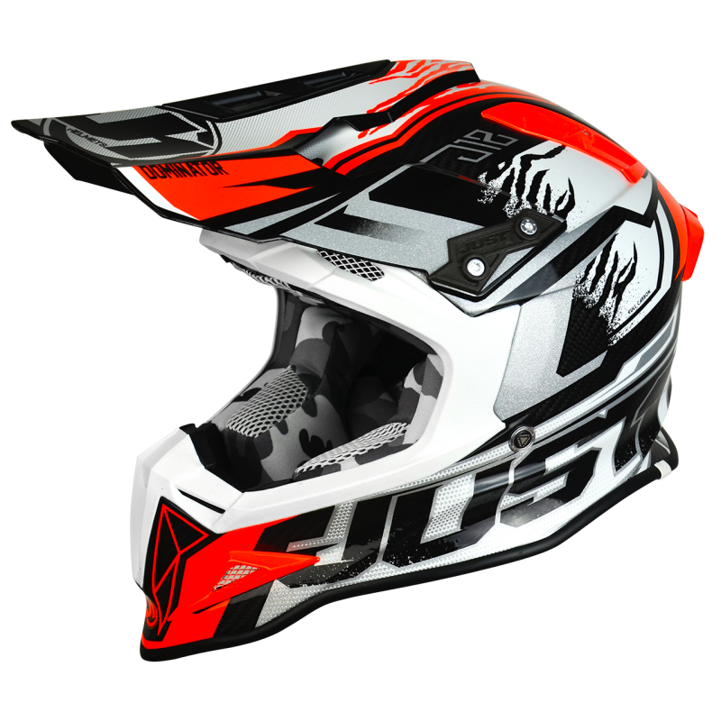 "JUST1 ""DOMINATOR WHITE RED"" FULL CARBON HELMET"